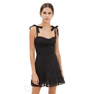 Reformation Maeve Black Lace Organic Cotton Dress